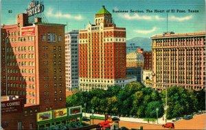 Vtg Linen Postcard - El Paso Texas TX Business Section Heart Of UNP