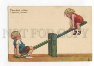 264732 Charming Kids on SWING Seesaw by IK Vintage postcard