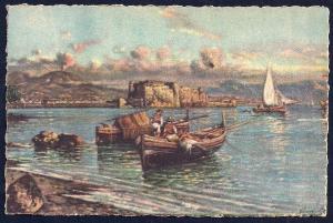Castle dell'Ovo Naples by Carelli unused c1940's