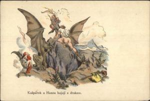 Fantasy Slaying a Dragon Kasparek & Hanza Czech c1920s Postcard