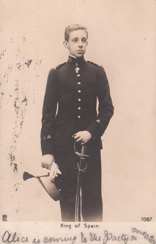 Royalty King of Spain Alfonso XIII Teenager Military Uniform Antique postcard