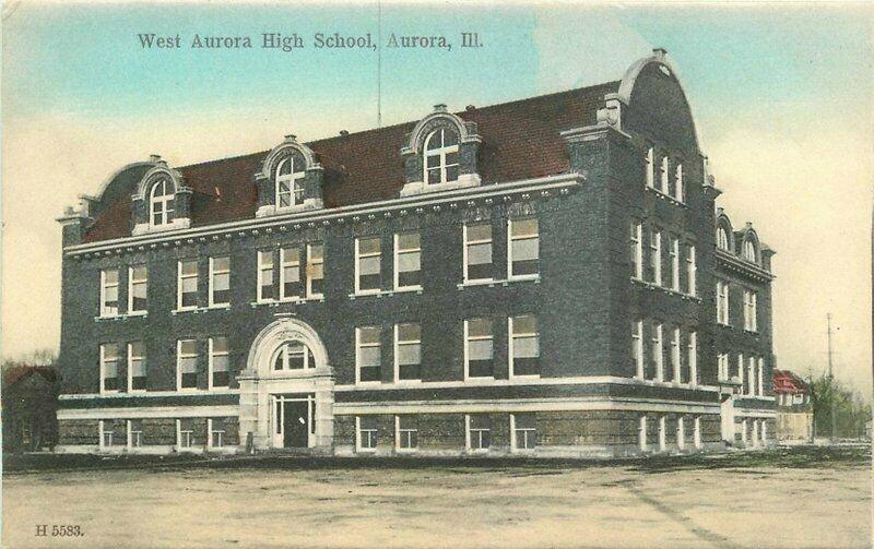 Aurora Illinois hand colored West High School C-1910 Postcard Schickler 6122