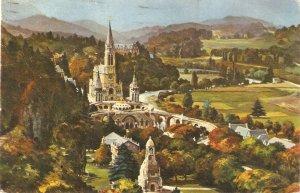 Lourdes. La Basilique vue du Chateau Fort Vintage French religious PC