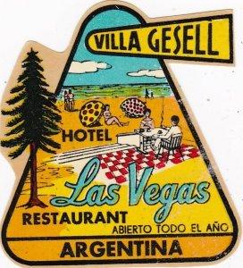 Argentina Villa Gesell Hotel Las Vegas Vintage Luggage Label sk4086