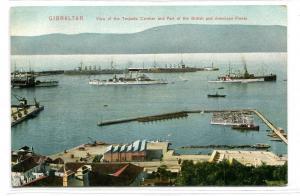 Torpedo Camber British & American Navy Ships Gibraltar 1910c postcard