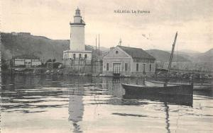 Malada Spain Light House Sailboat In Water Antique Postcard K10991