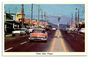 1950s/60s Oceanlake, OR Street Scene Oceanlake Saving Center Postcard