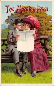 Victorian Romance~Pun: The Morning Press~Couple on Park Bench~Newspaper~1913 GEL