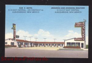 ALBUQUERQUE NEW MEXICO ROUTE 66 BAR X MOTEL JENNINGS OLD ADVERTISING POSTCARD