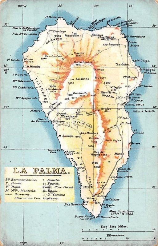 Spain Espana La Palma Map Mapa 1918 HipPostcard