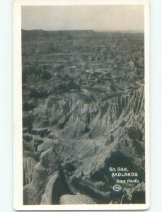 Pre-1929 rppc AERIAL VIEW IN BADLANDS Rapid City South Dakota SD o1680
