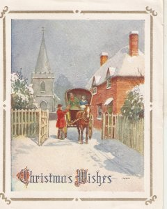 Snow scene with horse carriage Vintage folded Christmas card (not postcard)