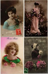 GLAMOUR LADIES ROMANTIC Real Photo FEMMES 1200 CPA Vintage Postcards