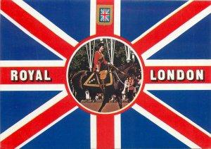 British Souvenir Postcard UK flag sentry in uniform riding