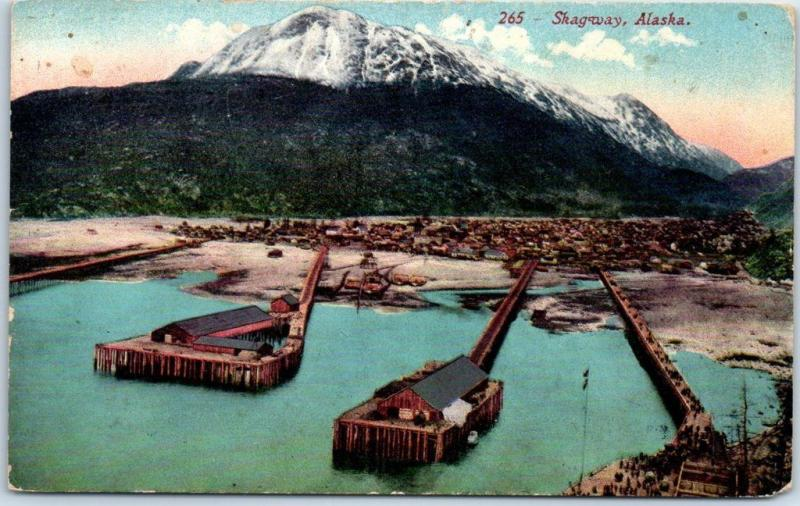 Skagway, Alaska Postcard Bird's-Eye View of Wharf Piers Mountains Mitchell 1910s