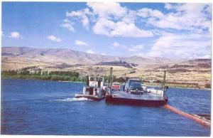 Maryhill Ferry Crossing Columbia River from Oregon OR to Washington