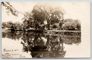 Rockton Illinois~Little Cabin House Under Huge Tree~River Reflection~1908 RPPC