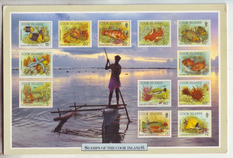 P1175 vintage stamped postcard cooks island fish on stamps, 2 scans