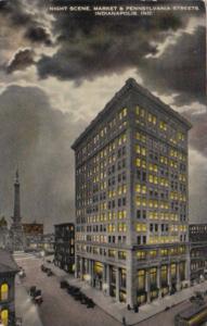 Indiana Indianapolis Market and Pennsylvania Streets At Night 1915