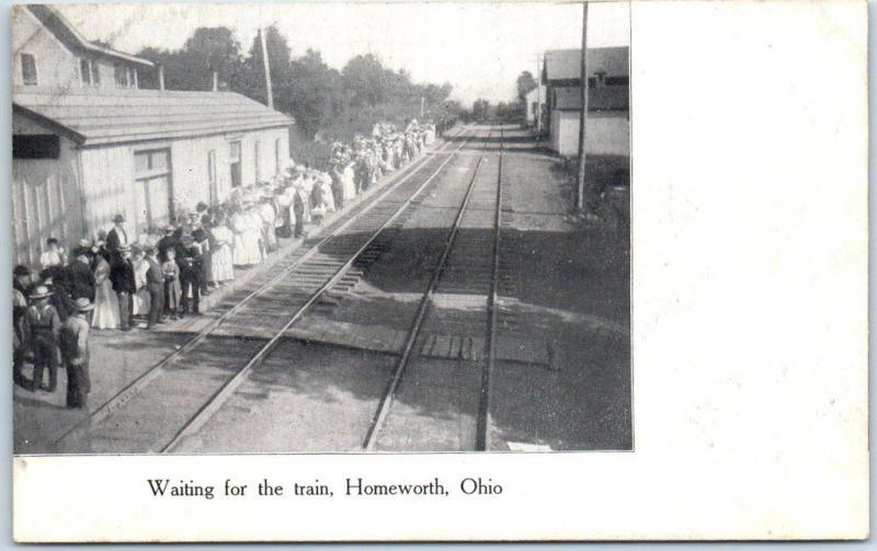 Homeworth, Ohio Postcard RAILROAD DEPOT Waiting for the Train Trackside c1910s