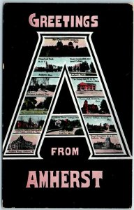 AMHERST Massachusetts Large Letter Postcard Multi-View M.A.C. Views c1910s