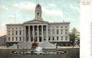 City Hall, Brooklyn, New York, Early Postcard, Unused, Souvenir Post Card Co.