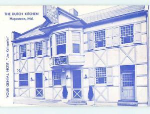 Unused 1944 DUTCH KITCHEN RESTAURANT Hagerstown Maryland MD M8105