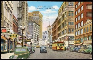 California OAKLAND Street View Telegraph Ave older cars store fronts pm1946LINEN