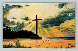 San Salvador Island Bahamas, Sunset Over Historic Cross Chrome Postcard
