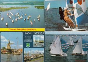 Sailing in Friesland Sail Ships 4x Postcard