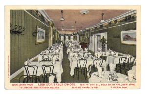 New York City NY Lion D'Or Table D'Hote Hotel Dining Room Restauramt Postcard