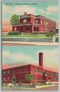 Anderson Indiana~City Hall~Armory~2 Views~Red Brick~Postcard~1944
