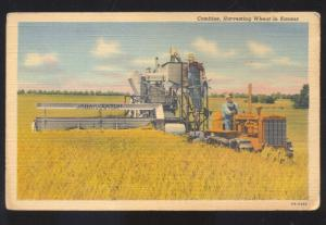 COMBINE HARVEST WHEAT FARM FARMING MACHINERY TRACTOR ADVERTISING POSTCARD