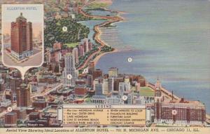 Illinois Chicago Aerial View Showing Allerton Hotel Curteich