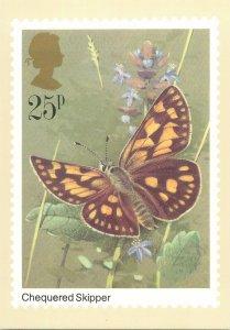 British stamp on Postcard Butterflies Chequered Skipper by Gordon Beningfield