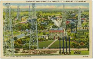 Linen of Oil Wells & Governor's Mansion Oklahoma City OK