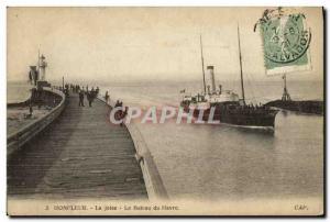 Old Postcard Honfleur La Jetee The Boat Harbor