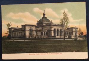 Postcard Unused Memorial Hall Fairmount Park Philadelphia PA LB