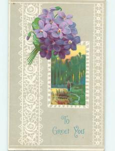Divided-Back BEAUTIFUL VIOLET FLOWERS & OUTDOOR SCENE o9319