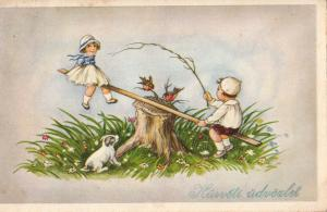 Hungary easter greetings postcard children couple swing puppy dog fantasy