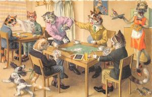 F60/ Alfred Mainzer Dressed Cats Postcard c1940s Playing Cards Poker 16