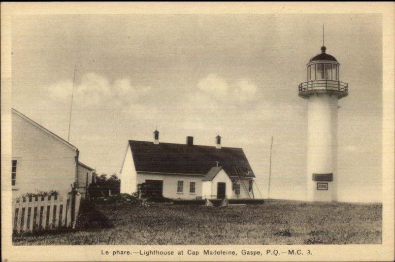 Gaspe Quebec Cap Madeleine Lighthouse Old Postcard / HipPostcard