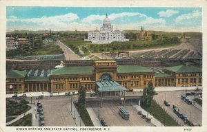 PROVIDENCE , Rhode Island , 1910s ; Union Station and State Capitol