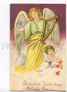 279800 Peaceful Christmas ANGEL w/ HARP vintage FINLAND PC