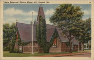 Elkton MD Episcopal Church Linen Postcard
