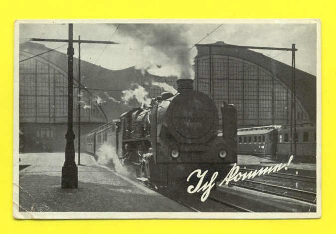 PC & STAMP GERMANY YEAR 1937 STEAM TRAIN TRAINS RAILWAY