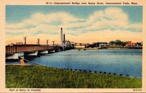Minnesota International Falls International Bridge Over Rainy River Curteich
