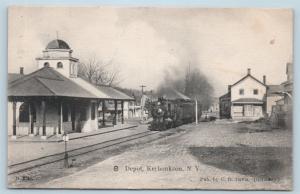 Postcard NY Kerhonkson O&W Railroad Depot Station RPO Cancel 1907 K20