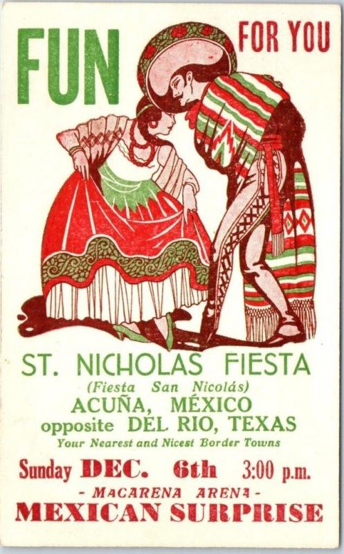 ACUNA, Mexico Advertising Poster Art Postcard ST. NICHOLAS FIESTA c1940s Unused