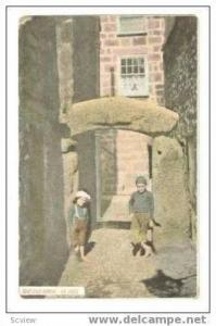 two boys standing at THE OLD ARCH, St. Ives, UK, 00-10s